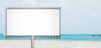 Blank advertisement billboard on the beach in summer stock photography