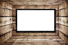 Blank advertisement board. In old wood box Royalty Free Stock Images