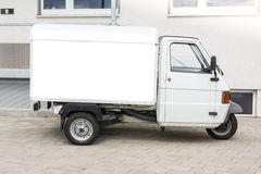 Blank Advertisement Small Truck Automotive Public Outdoors White. Clipping Path Royalty Free Stock Images