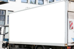 Blank Advertisement Small Truck Automotive Public Outdoors White. Clipping Path Royalty Free Stock Image