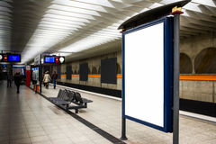 Blank Advertisement Template Subway Underground Bench Munich Cit Royalty Free Stock Photography