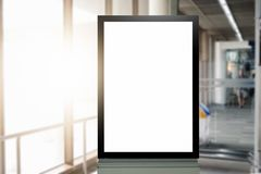 Mock up Poster media template Ads display in Subway station escalator stock image