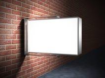 Blank advertising billboard on brick wall. 3d render illustration Stock Photo