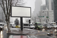 Blank advertising billboard on city street Royalty Free Stock Photography