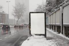 Blank advertising billboard on city street Stock Images