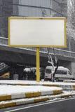 Blank advertising billboard on city street Royalty Free Stock Photo