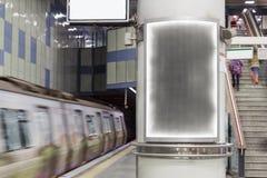 Blank advertising billboard on city street Royalty Free Stock Image