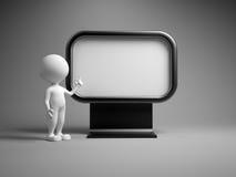 Blank advertising billboard. 3d people - man, person with blank advertising billboard Stock Photo