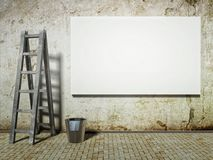 Blank advertising billboard on dirty grunge wall Stock Images