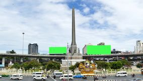 Blank advertising billboard green screen at The Victory Monument. Blank advertising billboard green screen at The Victory Monument, central transport hubs in stock video footage