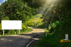 A blank advertising billboard immersed in a road Royalty Free Stock Photo