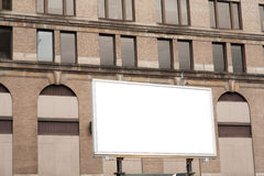 Blank advertising billboard sign on brick wall background textur Stock Images