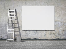 Blank advertising billboard on wall Royalty Free Stock Photo