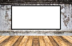 Blank advertising billboard or wide screen television. With old vintage buildings exterior brick wall background, commercial and marketing concept, copy space Royalty Free Stock Photography