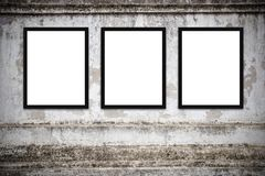 Blank advertising billboard or wide screen television. With old vintage buildings exterior brick wall background, commercial and marketing concept, copy space Royalty Free Stock Photos