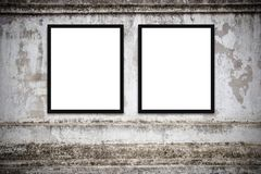 Blank advertising billboard or wide screen television. With old vintage buildings exterior brick wall background, commercial and marketing concept, copy space Royalty Free Stock Image