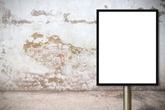 Blank advertising billboard or wide screen television. With old vintage buildings exterior brick wall background, commercial and marketing concept, copy space Stock Images