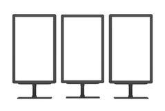 Blank advertising billboards. Public information boards. 3D illustration Royalty Free Stock Photos