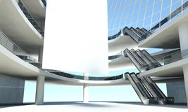 Blank advertising flag and escalator in interior Royalty Free Stock Photo
