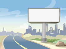 Blank advertising highway billboard and urban landscape. Vector illustration Stock Images