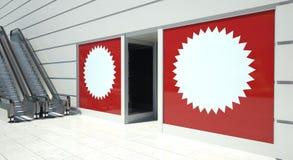 Blank advertising on shopfront and escalator Royalty Free Stock Images