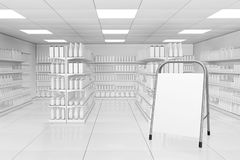 Blank Advertising Stand near Market Shelving Rack with Blank Pro stock illustration