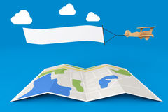 Blank Aerial Advertising. Wooden Toy Airplane with Empty Banner. Over City Map on a blue background. 3d Rendering Stock Photos