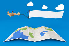 Blank Aerial Advertising. Wooden Toy Airplane with Empty Banner. Over City Map on a blue background. 3d Rendering Stock Photo