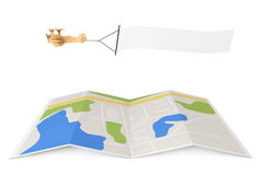 Blank Aerial Advertising. Wooden Toy Airplane with Empty Banner. Over City Map on a white background. 3d Rendering Royalty Free Stock Photo