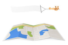 Blank Aerial Advertising. Wooden Toy Airplane with Empty Banner. Over City Map on a white background. 3d Rendering Stock Photo
