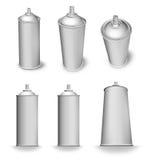 Blank aerosol can variations. Blank spray aerosol can bottle various angles white background stock illustration