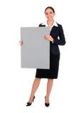 blank affärskvinnaholdingaffisch royaltyfri fotografi