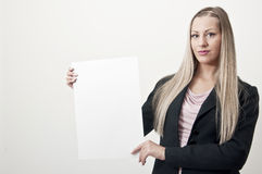 blank affärsteckenkvinna Arkivfoto