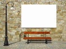 Blank affischtavlan på tegelsten stock illustrationer