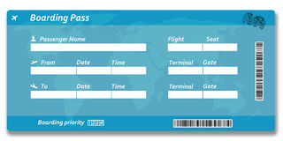 Blank airline boarding pass ticket. Isolated on white Stock Photo