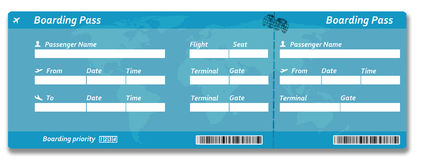 Blank airline boarding pass ticket. Isolated on white Royalty Free Stock Image