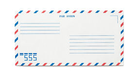 Blank airmail envelope isolated. With numbers, front view Stock Photo