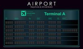 Blank flights scoreboard mockup departures. Blank airport board for destination information, cities, schedule. Vector illustration Stock Photo