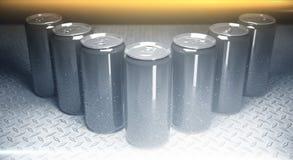 Blank aluminium beer cans closeup Royalty Free Stock Image