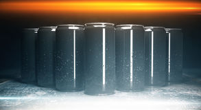 Blank aluminium beverage cans front. Front view of blank aluminium beverage cans on grey background, illuminated from above. Packaging concept. Mock up, 3D Stock Images