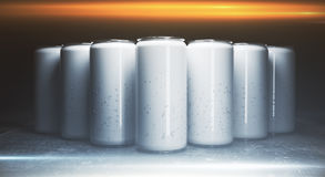 Blank aluminium drink cans front Royalty Free Stock Images