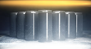 Blank aluminium soda cans front. Front view of blank aluminium soda cans on grey background, illuminated from above. Packaging concept. Mock up, 3D Rendering Royalty Free Stock Photo