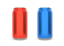 Blank aluminum can on white background. Stock Photos