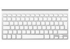 Blank aluminum keyboard. Isolated on white. Vector illustration. You can put your own characters in blank keys Stock Photography
