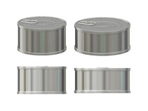 Blank aluminum tin can set with pull tab, clipping path included Royalty Free Stock Images