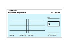 Blank American Cheque Stock Photography