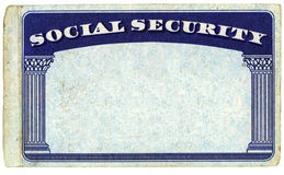 Blank American Social Security Card. Isolated over white background - With clipping path