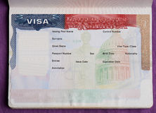 Blank american visa in passport. Page. Empty visa to enter United state of america Stock Photography