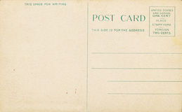 Blank Antique Postcard. Blank aged antique post card from early 1900s, requiring a one cent stamp Stock Photo