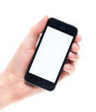 Blank Apple iPhone 5 in hand Stock Photos